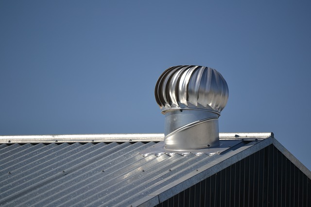 Metal roof with vent & fan